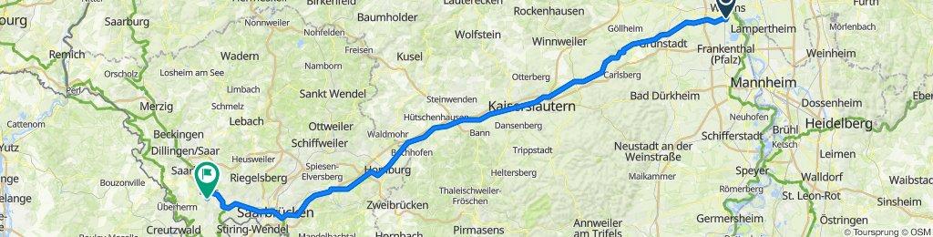 Worms - Wadgasen lt. Routenplan