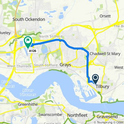 Route from 108 Darwin Road, Tilbury