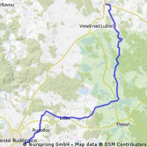 zast. Řípec Dráchov-Hamr-Klec-hráz Rožmberka-Dunajovice-Lišov-Jelmo-ČB