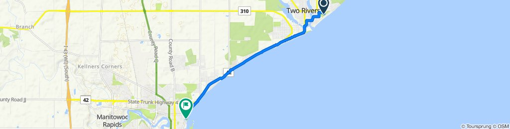 500 Zlatnik Dr, Two Rivers to 515–673 Maritime Dr, Manitowoc