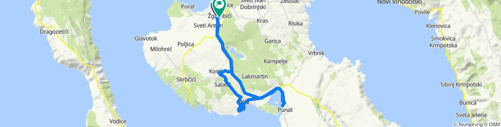 Malinska - Krk - Punat - Malinska (partial off road, sea side, regional road)