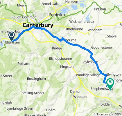 Route from Station Road, Canterbury
