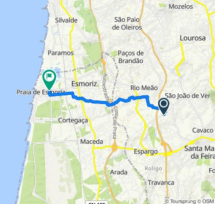 Rua 1 da Urbanização de Beire, Santa Maria da Feira to Avenida Doutor Fernando Raimundo Rodrigues 638–660, Ovar
