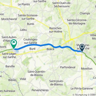 De La Cour Longue 7, Saint-Langis-lès-Mortagne à Square de la Gare 4, Coulonges-sur-Sarthe