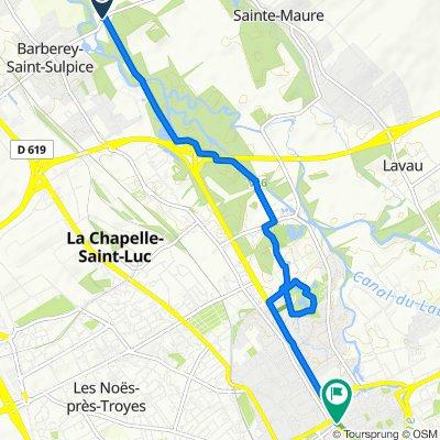De Le Pertuis 10, Barberey-Saint-Sulpice à Quai des Comtes de Champagne 3, Troyes