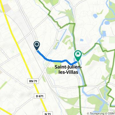 De Rue Henri Dunant 2, Saint-Julien-les-Villas à Rue de l'Hôtel de ville 2, Saint-Julien-les-Villas