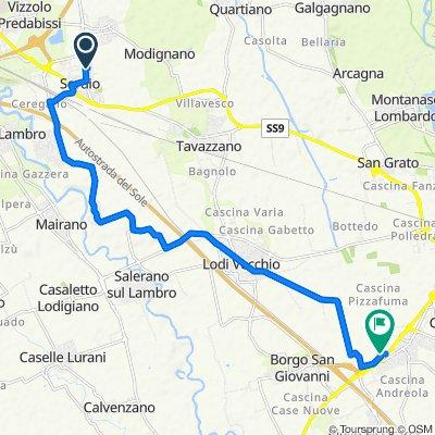 Da Via Don Luigi Savarè 1, Sordio a Via Leonardo Da Vinci 25, Casale Sant'Antonio-Europa