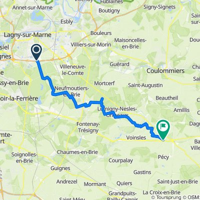 De Avenue Gutenberg 6, Bussy-Saint-Georges à Rue Creuse 2, Vaudoy-en-Brie