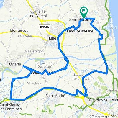 20 000 Km.  St Cyprien, Argeles, St André, Laroque, St Genis, Palau del Vidre, 4 étangs, Elne