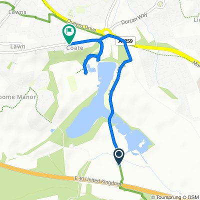 Route to 358 Marlborough Road, Swindon