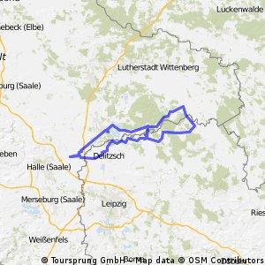 In die Dübener Heide: Bitterfeld- Bad Schmiedeberg- Pretzsch – Dommitzsch- Bad Düben –Löbnitz- Seelhausener See- Neuhauser See- Landsberg