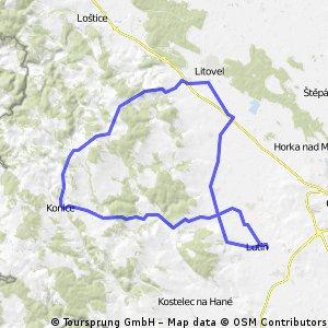 Lutín - Drahanovice - Konice - Litovel - Senice n. H. - Drahanovice - Lutín