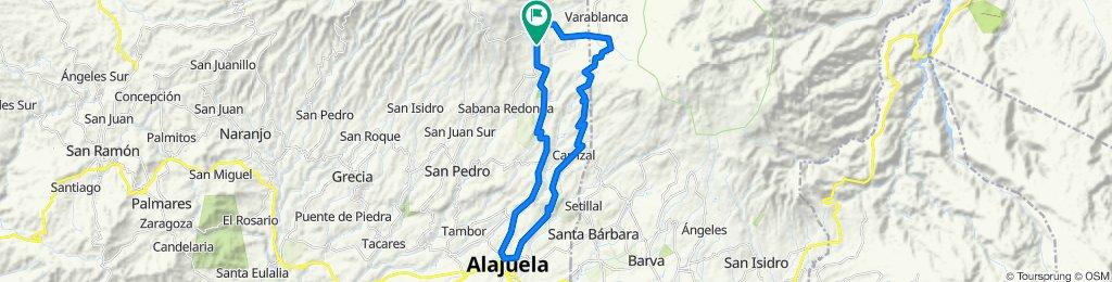 Fraijanes-Poasito-Vara Blanca-Cartagos-Carrizal-Canoas-Calle Ancha-Ceiba-Pilas-La Chaparra-Laguna Fraijanes-Fraijanes