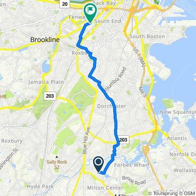 142 Hinckley Rd, Milton to 366–374 Huntington Ave, Boston