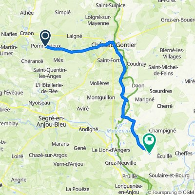 De 1 Rue Neuve, Pommerieux à 1 Rue de Beauvais, Sceaux-d'Anjou