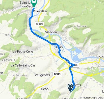 De D67, Chamvres à Avenue Pasteur 37, Saint-Julien-du-Sault