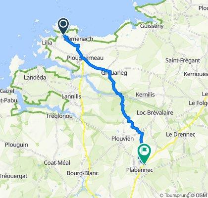 De 576 Kergongar, Plouguerneau à 3 Allée des Pins, Plabennec