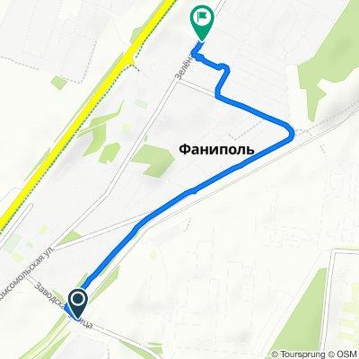 От улица Заводская 2, Фаниполь до улица Зелёная 2, Фаниполь