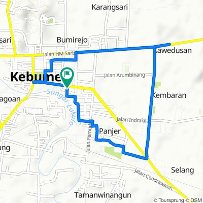Jalan Pahlawan 117, Kecamatan Kebumen to Jalan Pahlawan 115, Kecamatan Kebumen