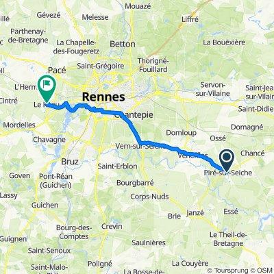De 5 Rue de Chaumère, Piré-sur-Seiche à 35–39 Avenue des Cygnes, Le Rheu