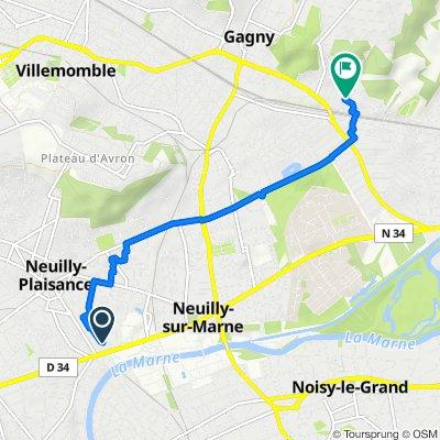 De Allée des Bouvreuils 8, Neuilly-Plaisance à Rue Pierre Bezet 5, Gagny