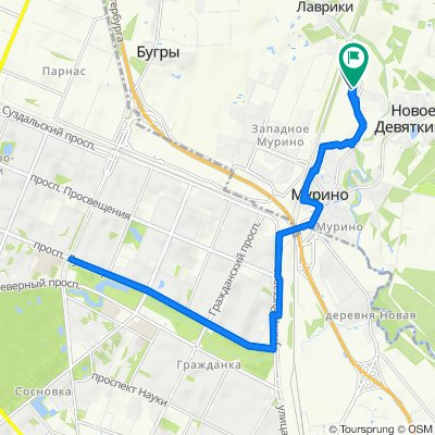 От улица Шоссе В Лаврики 76 до улица Шоссе В Лаврики 83