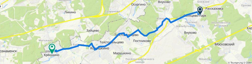 От улица Авиаконструктора Петлякова 27, Пыхтино до улица Совхоза Крекшино поселок 19