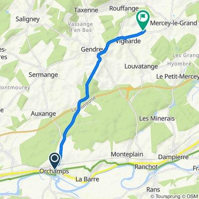 De 2 Place du Monument, Orchamps à 2 Rue des Sapins, Romain