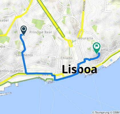 De Rua dos Prazeres 84, Lisboa a Rua Santiago 14, Lisboa