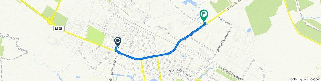 "От переулок Жарсуат 7, Нур-Султан до Гипермаркет ""Магнум"", Нур-Султан"