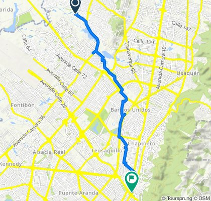 De Carrera 123 129f87, Bogotá a Carrera 10 27-43, Bogotá
