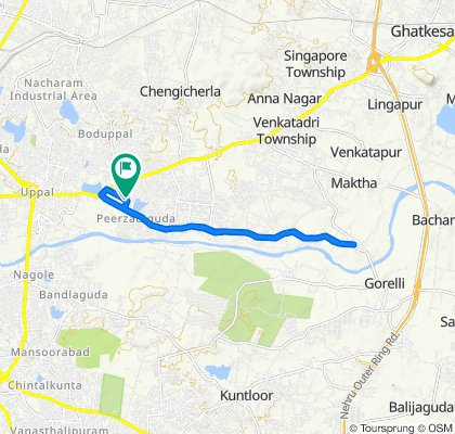 Route from Chennareddy Enclave Road, Ramchandra Colony, Hyderabad