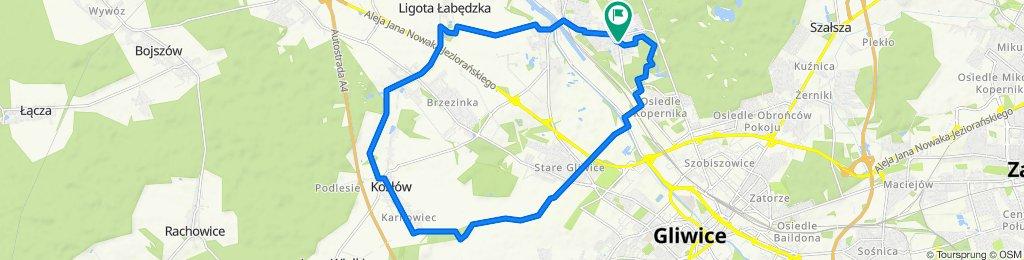 Zygmuntowska 38, Gliwice do Zygmuntowska 42, Gliwice