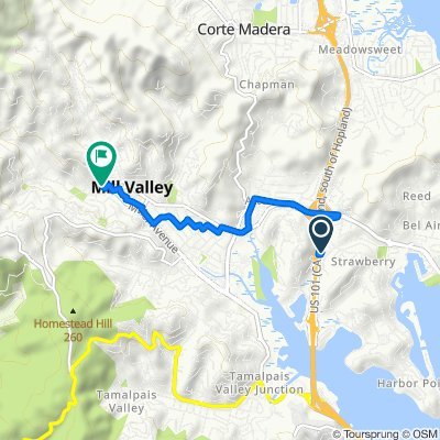 307 Strawberry Village, Mill Valley to 32–46 Madrona St, Mill Valley