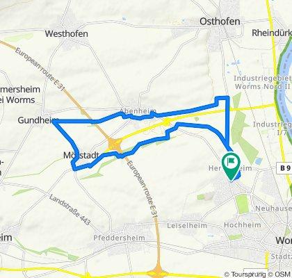 Abenheim- Gundheim - Mörstadt und zurück