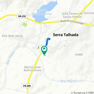 De Travessa Comandante Superior Sg, 36, Serra Talhada a Travessa Comandante Superior Sg, 30, Serra Talhada