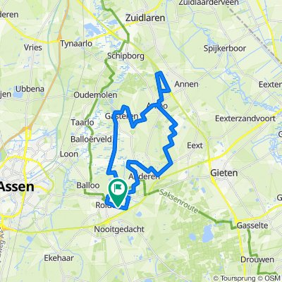 eigen route (combi Anloo - Zuidlaren