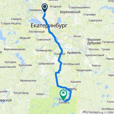 От Республиканская улица 5, Екатеринбург до Дачный переулок, Верхняя Сысерть