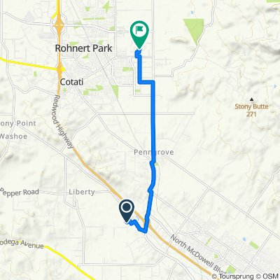 20 Rainsville Rd, Petaluma to 1801 E Cotati Ave, Penngrove