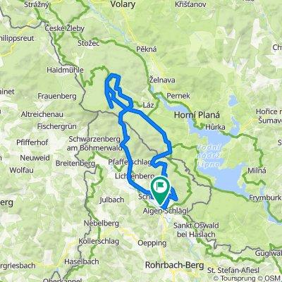 Aigen-Grünwald-Schöneben-Schwemmkanal-Plöckensteinersee-Hirschbergen-1/10ner-Hochfichtarena-Ulrichsberg-Aigen