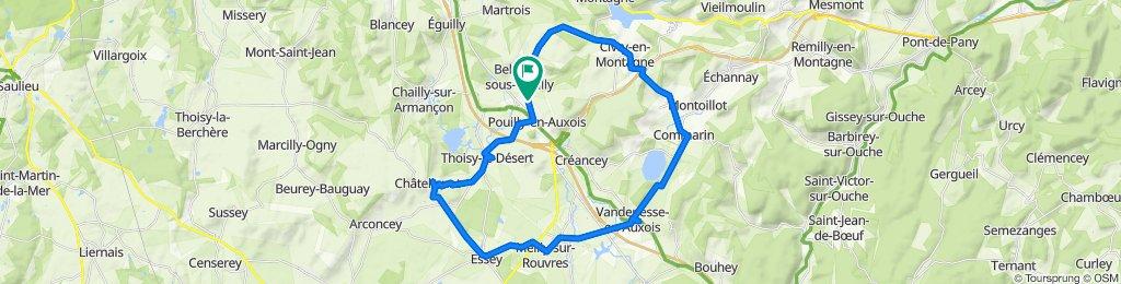 De Route de Bellenot, Pouilly-en-Auxois à 1–7 Rue du Larrey de la Roche, Pouilly-en-Auxois
