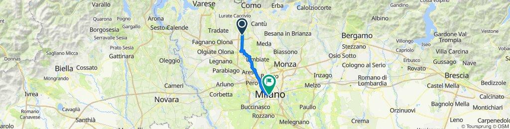 Percorso da Via Rosales 2, Lomazzo