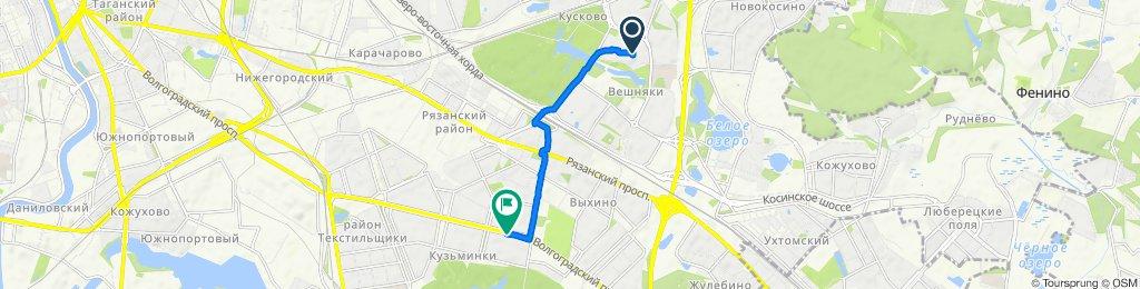 От аллея Жемчуговой, 5к1, Москва до Волгоградский проспект, 136, Москва