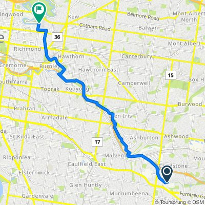 Route from Park Road, Chadstone