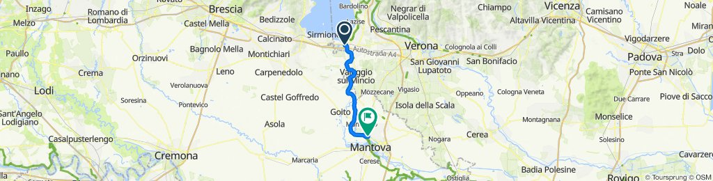 Da Lungolago Giuseppe Mazzini, Peschiera del Garda a Via Salvo D'Acquisto 13, Porto Mantovano
