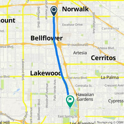 14104–14198 Edgewater Dr, Bellflower to 7304–7342 E Wardlow Rd, Long Beach