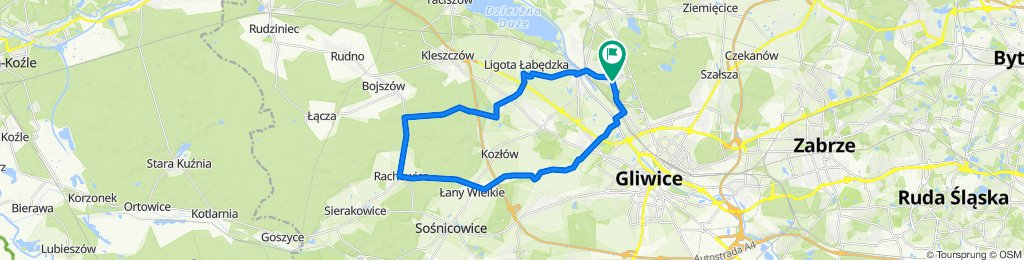 Zygmuntowska 42, Gliwice do Zygmuntowska 40, Gliwice