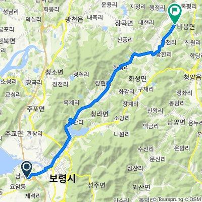 1210 Namgok-dong, Boryeong-si to 498-1 Rokpyeongyongdang-ro, Cheongyang-gun