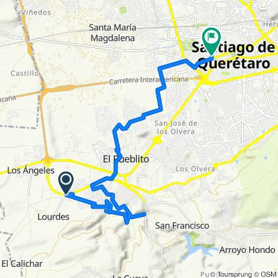De Calle Josefa Vergara y calle Valle Dorado a Calle Nicolás Campa 27, Santiago de Querétaro