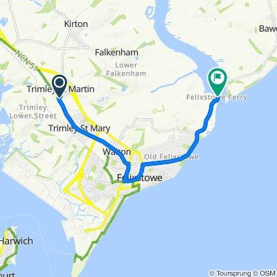 Howlett Road, Felixstowe to Sans Souci, Ferry Road, Felixstowe